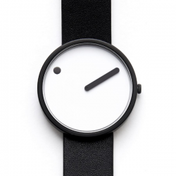Rosendahl Picto White Dial Black Leather Strap Watch