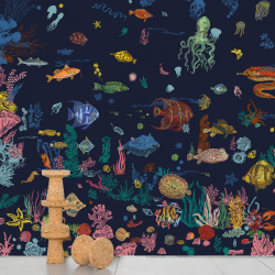 Domestic Sous la mer - navy bl Wallpaper