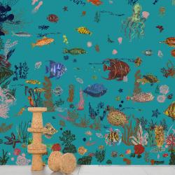 Domestic Sous la mer - blue Wallpaper