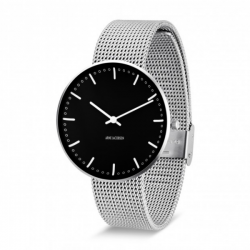 Arne Jacobsen City Hall Watch Black Dial, Silver Mesh