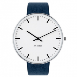 Arne Jacobsen City Hall Watch White Dial, Blue Leather