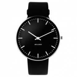 Arne Jacobsen City Hall Watch Black Dial, Black Strap
