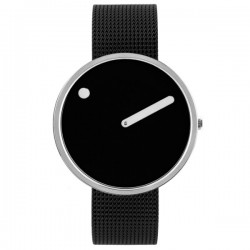 Picto Stainless Steel Dial & Black Mesh Strap